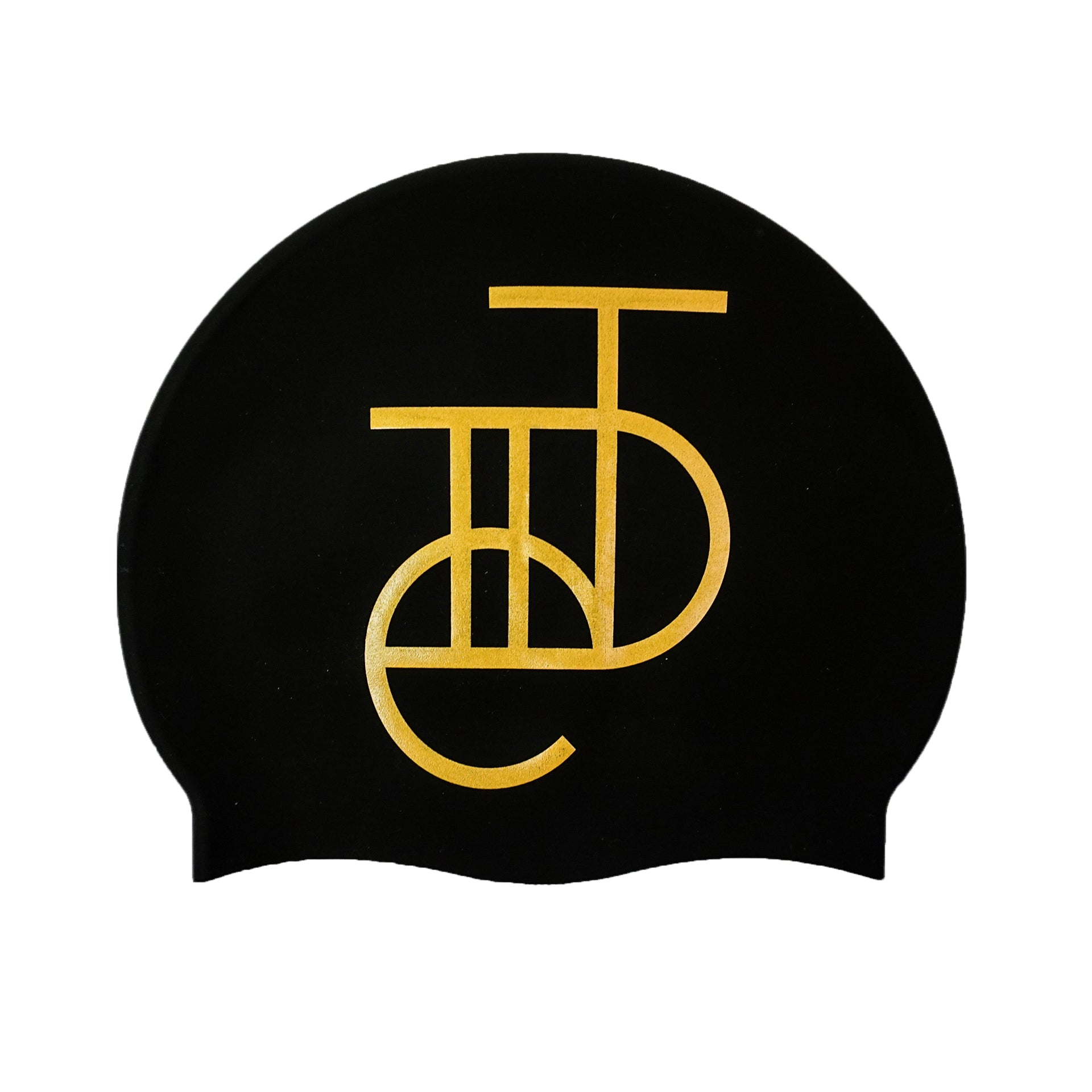 Tiide Logo Swim Hat Gold On Matte Black