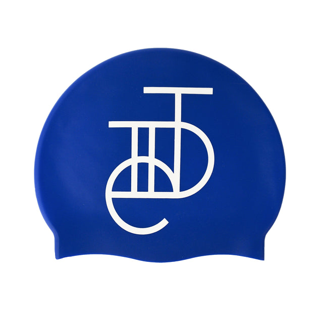 Tiide Logo Swim Hat White On Royal Blue