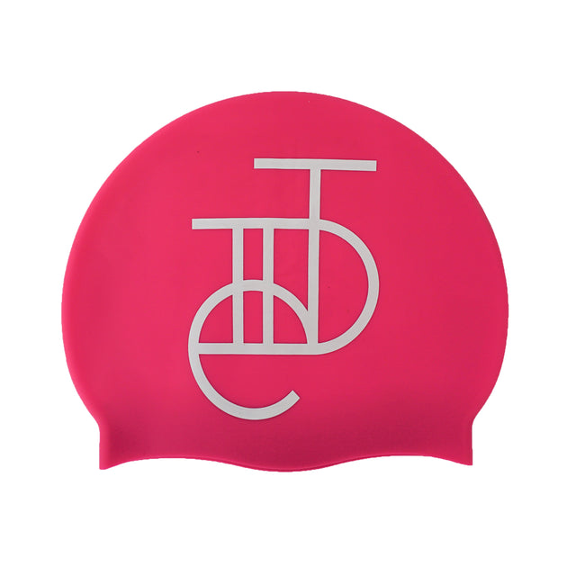 Tiide Logo Swim Hat White on Matte Pink