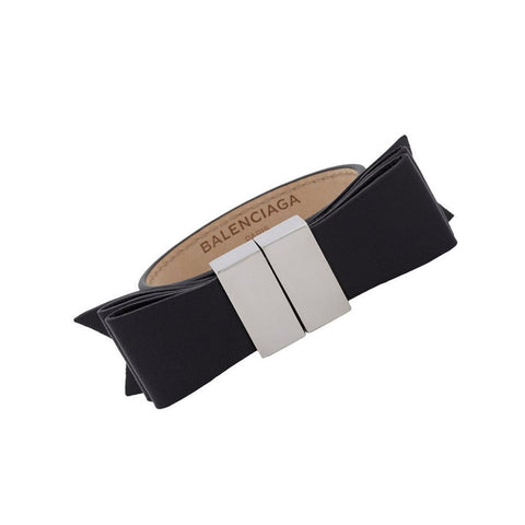 Balenciaga Black Bow Leather Bracelet Silver Hardware 341461 at_Queen_Bee_of_Beverly_Hills
