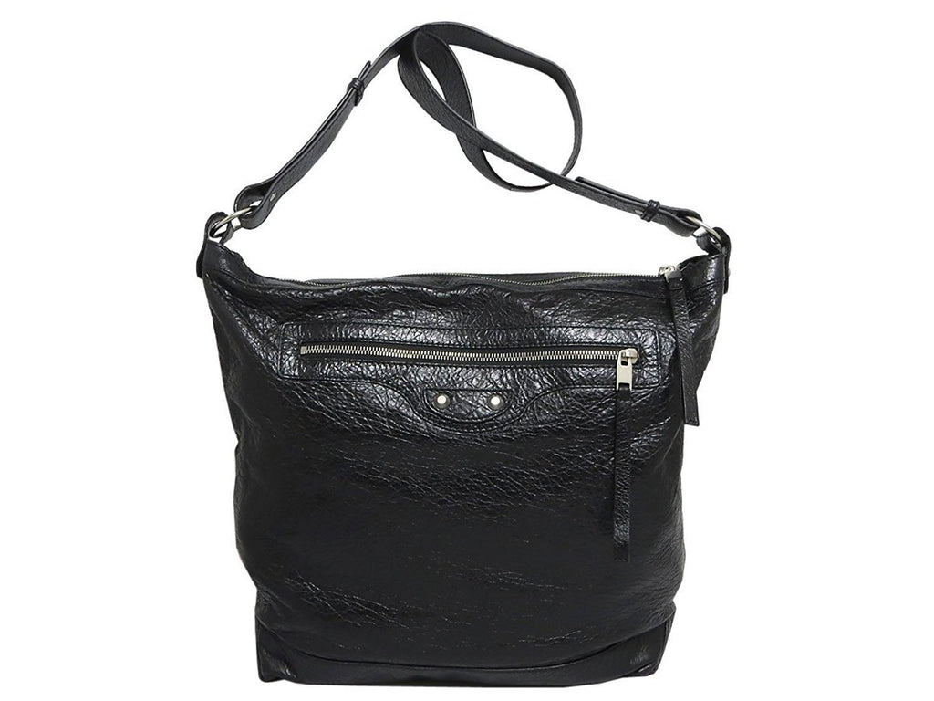 Balenciaga Classic Black Lambskin Leather Messenger Bag 340687 at_Queen_Bee_of_Beverly_Hills