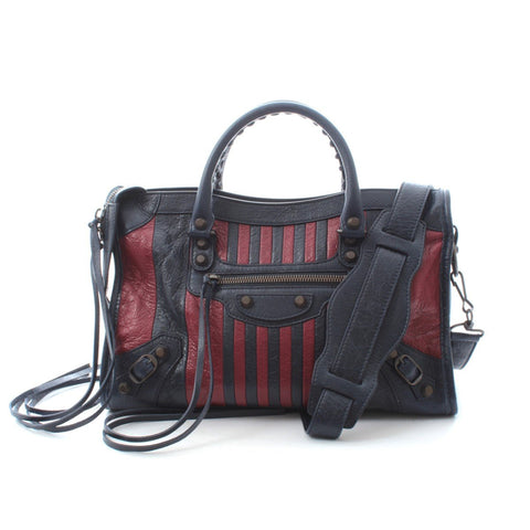 Balenciaga Classic City Marine Bordeaux Stripe Small Satchel 431621 at_Queen_Bee_of_Beverly_Hills