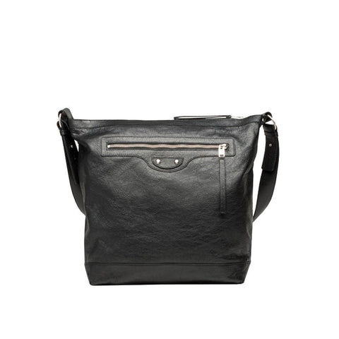 Balenciaga Classic Courier Bag Arena Men's Black Leather Messenger Shoulderbag 272810 at_Queen_Bee_of_Beverly_Hills