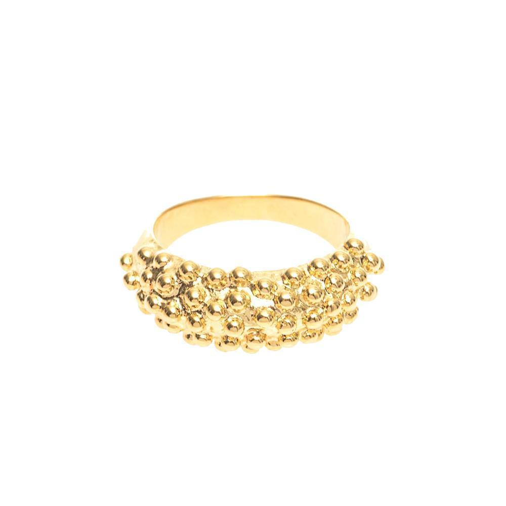 Balenciaga Classic Gold Bubble Ring Size 5 342109 at_Queen_Bee_of_Beverly_Hills