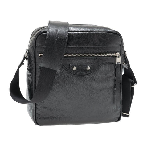 Balenciaga Unisex Reporter Leather Black Messeger Bag 594578 at_Queen_Bee_of_Beverly_Hills