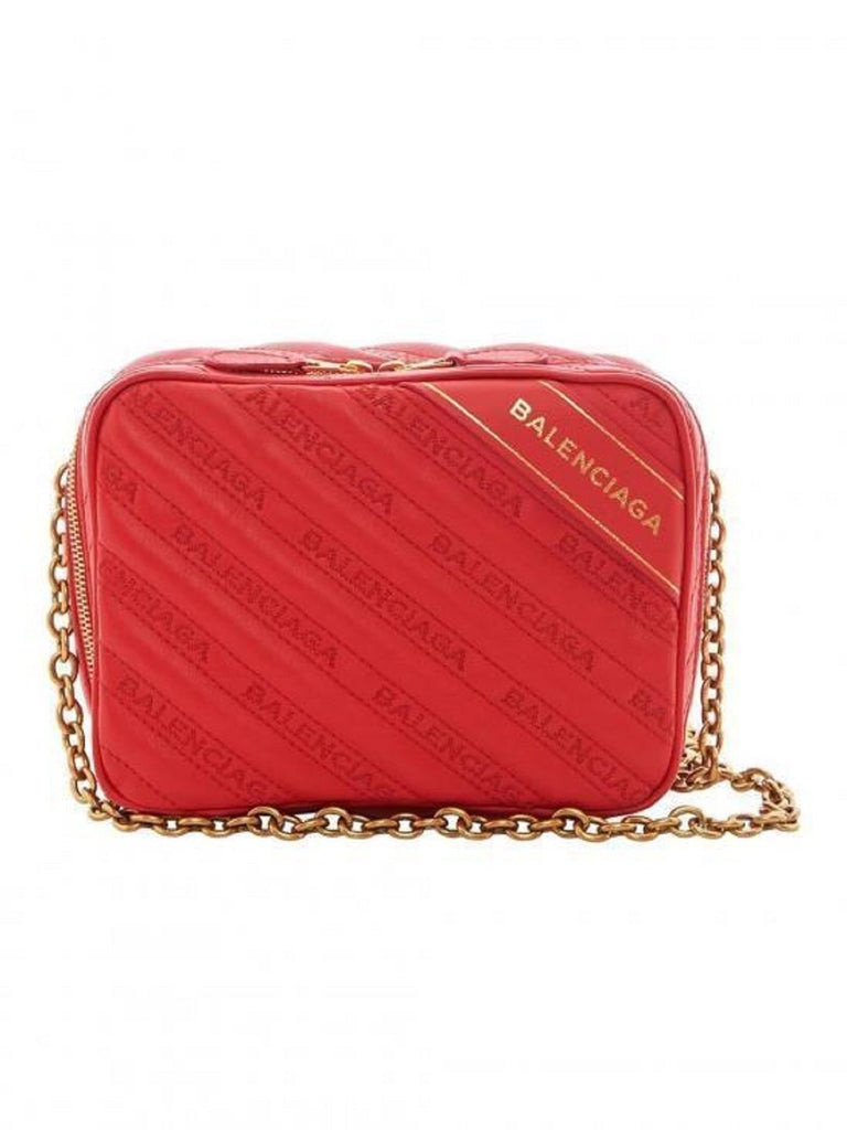 Balenciaga Veau Matelasse Embroidered Logo Red Rouge Blanket Reporter Chain Bag 502026 at_Queen_Bee_of_Beverly_Hills