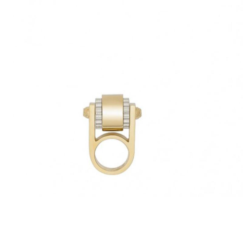 Balenciaga Women's Gold and Palladium Ring Large 328005 Size: 5 at_Queen_Bee_of_Beverly_Hills