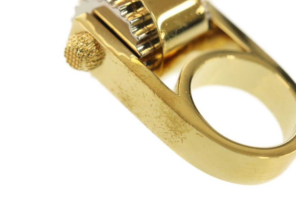 Balenciaga Women's Large Luxury Gold Ring Size: 6 at_Queen_Bee_of_Beverly_Hills
