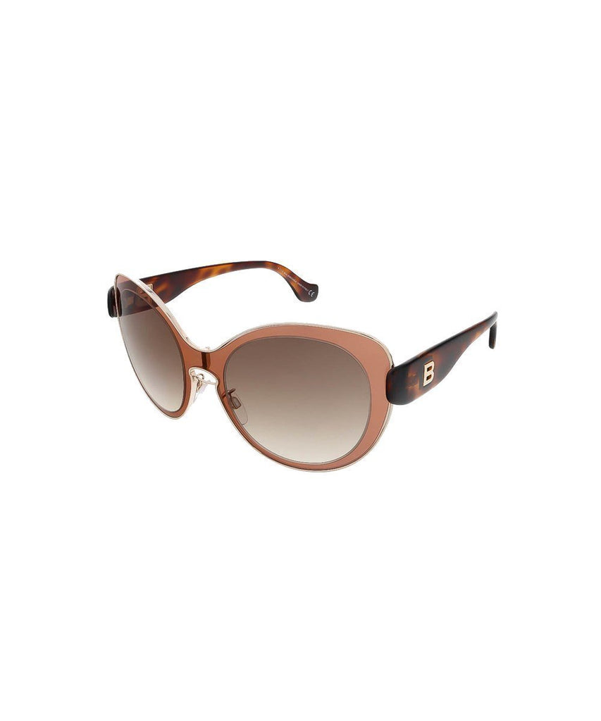 Balenciaga Women's Mauve Pink Havana Round Sunglasses at_Queen_Bee_of_Beverly_Hills