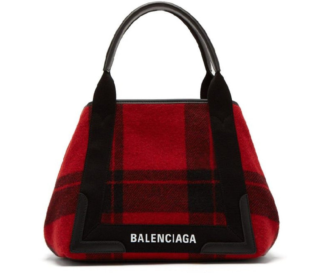 Balenciaga Womens Red Black Leather Cabas Pouchette Satchel Handbag 339933 at_Queen_Bee_of_Beverly_Hills