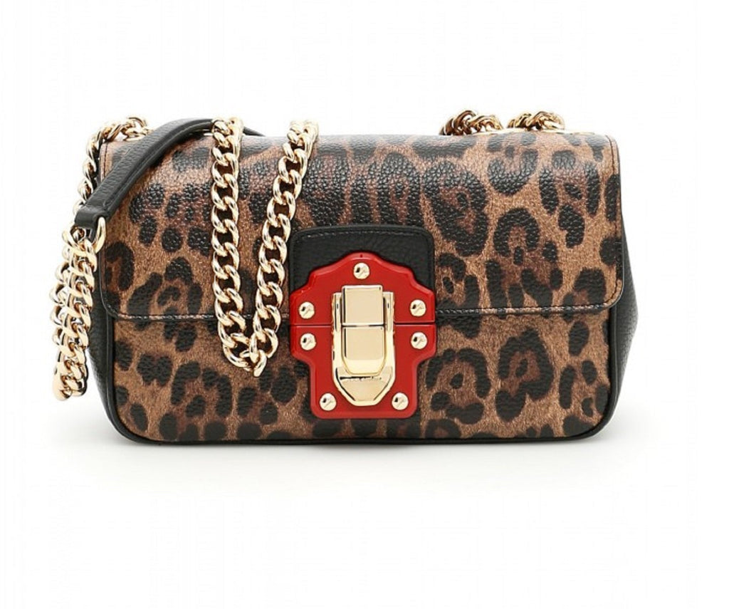 Dolce & Gabbana Lucia Leopard Shoulder Bag Chain Strap Lock Flap BB6344 AI542 at_Queen_Bee_of_Beverly_Hills
