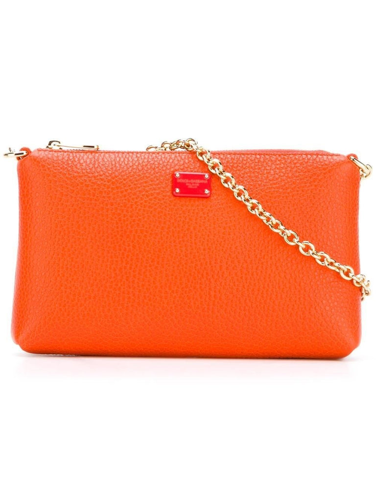 Dolce & Gabbana Pouch Orange Gold Chain Leopard Print Lining BI0933-AC675 at_Queen_Bee_of_Beverly_Hills