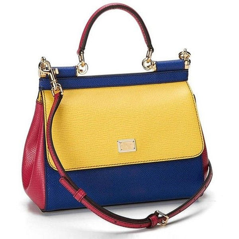 Dolce & Gabbana Vitello Mini Miss Sicily Yellow Multi Colored Mini Cross Body Bag BB5999 at_Queen_Bee_of_Beverly_Hills