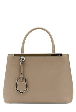 Fendi 2 Jours Dove Beige Calf Leather Shopping Tote Cross Body Handbag 8BH253 at_Queen_Bee_of_Beverly_Hills