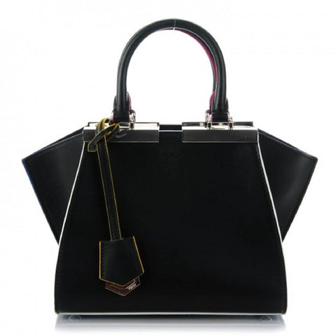 Fendi Bag 2Jours Calf Leather Lamb Black Iris Palladium Hardware Bag 8BH333-5C3 at_Queen_Bee_of_Beverly_Hills