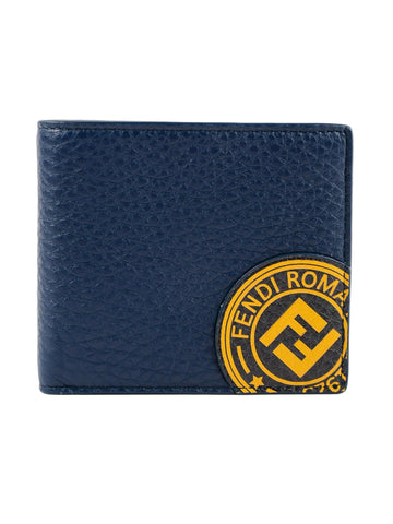Fendi Billfold Calf Leather Navy Wallet w Marine Yellow Fendi Stamp 7M0169 at_Queen_Bee_of_Beverly_Hills