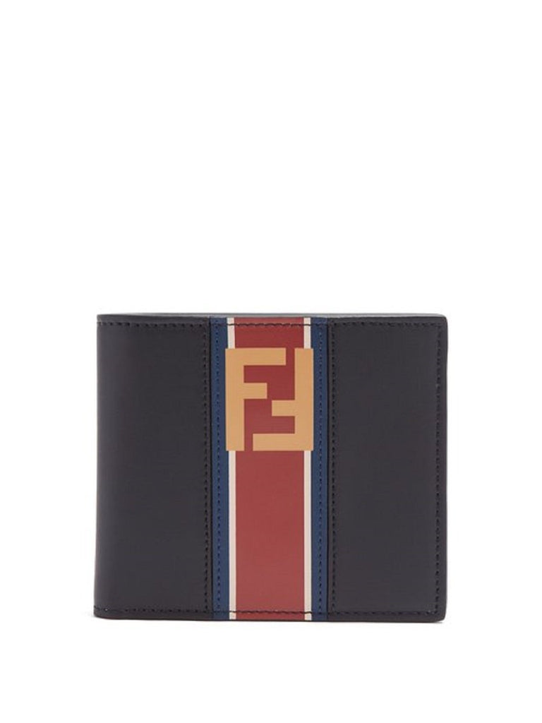 Fendi Billfold Leather Two Toned Black and Beige Wallet with Red Stripe and Forever Fendi Logo 7M0169 at_Queen_Bee_of_Beverly_Hills