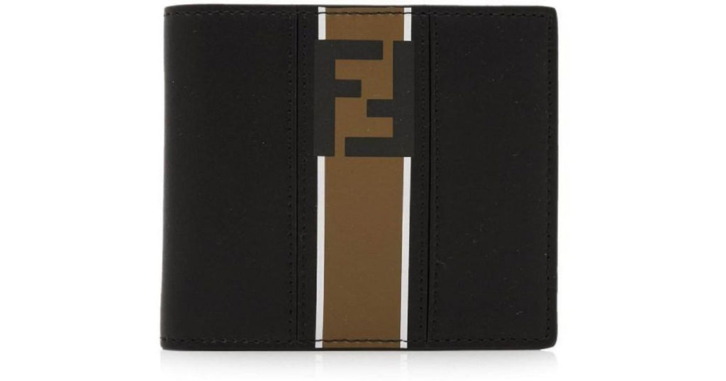 Fendi Billfold Leather Two Toned Black and Brown Wallet with Forever Fendi Logo 7M0169 at_Queen_Bee_of_Beverly_Hills