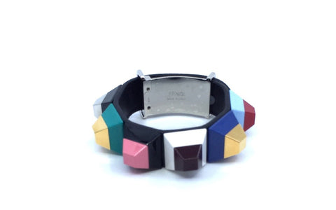Fendi Black Leather Strap Rainbow Studded Bracelet Cuff Silver Hardware 8AG625 at_Queen_Bee_of_Beverly_Hills