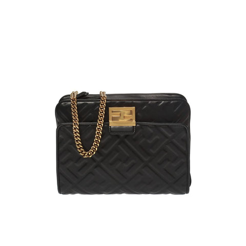 Fendi Black Upside Down Belt Bag Embossed FF Logo 8BT305A72V at_Queen_Bee_of_Beverly_Hills
