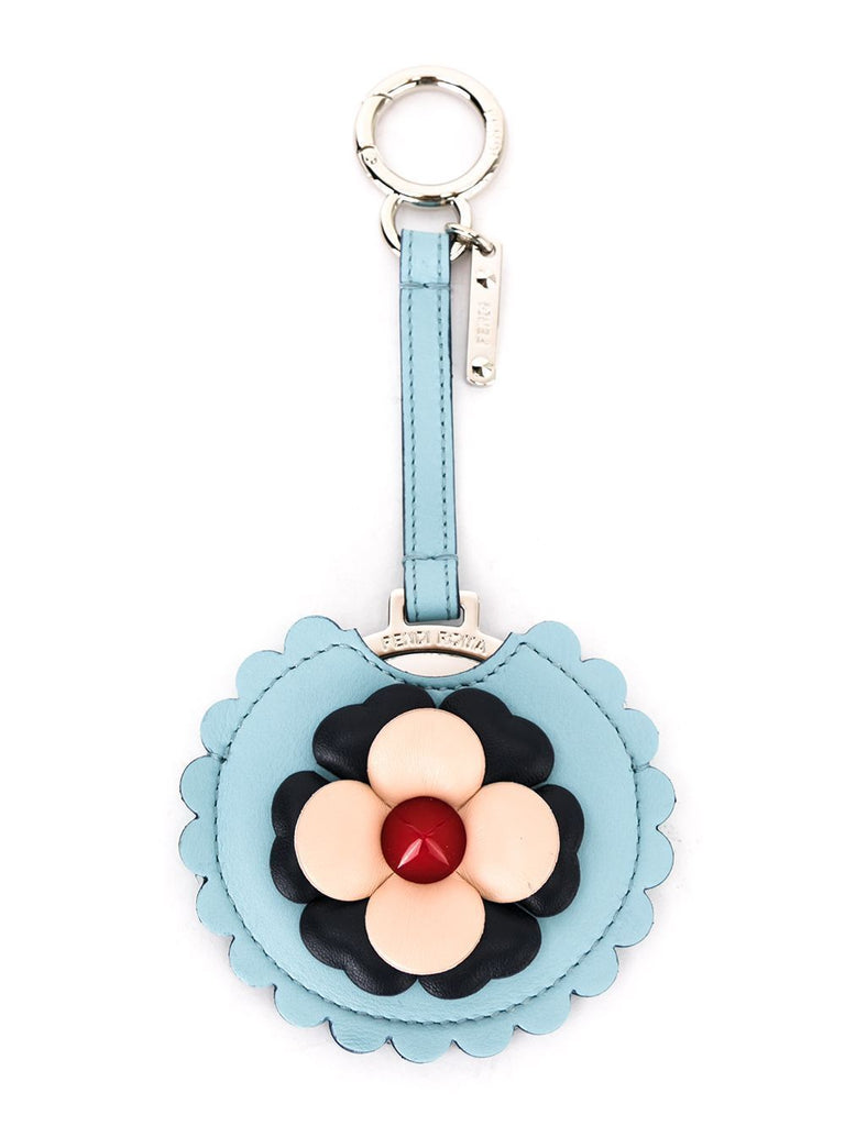 Fendi Blossom Blue Calf Leather Key Charm Luxury Keychain 7AR455-F09PO at_Queen_Bee_of_Beverly_Hills