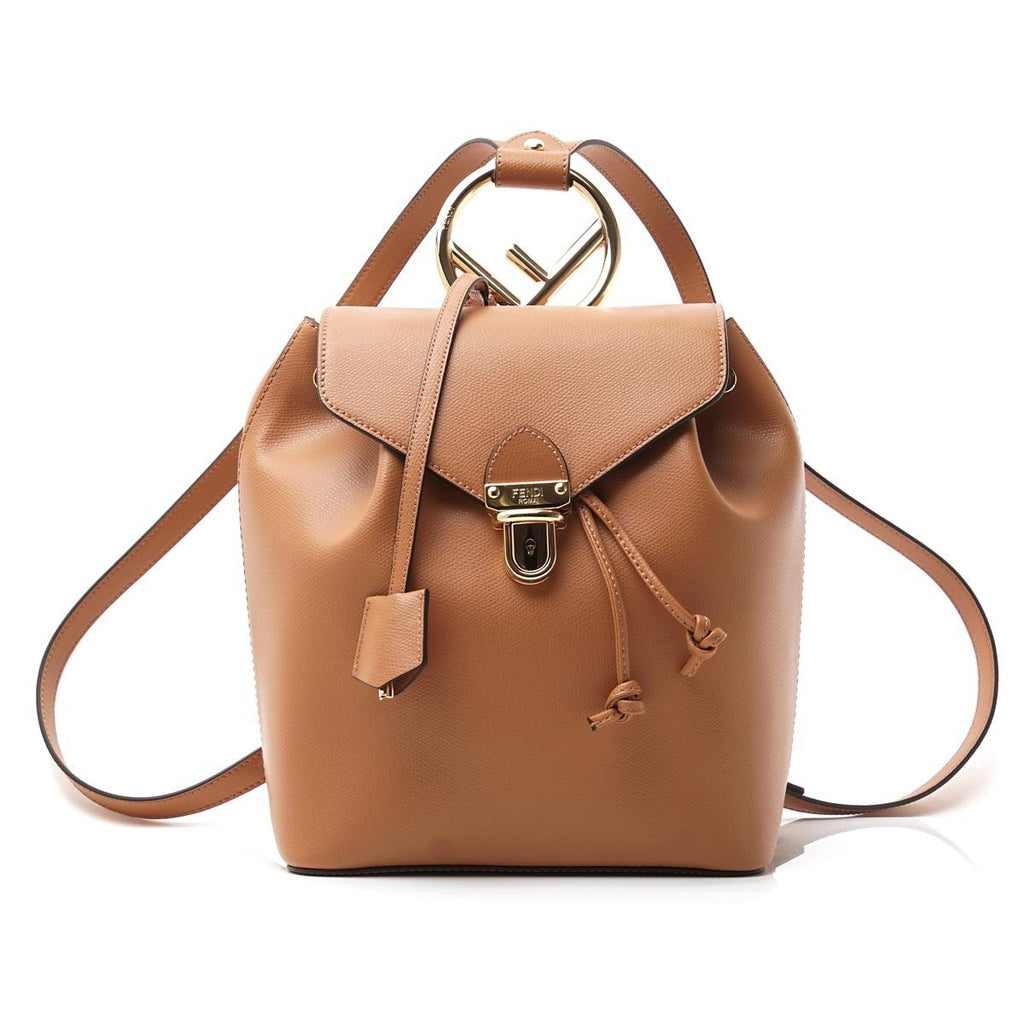 Fendi Brown Tan Backpack Gold Hardware Locket Calf Leather Backpack Bag 8BZ043 at_Queen_Bee_of_Beverly_Hills