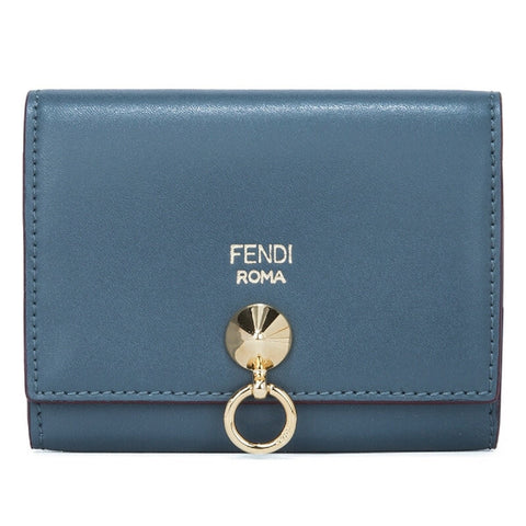 Fendi By The Way Blue Tempesta Leather Business Card Case Wallet 8M0217 at_Queen_Bee_of_Beverly_Hills