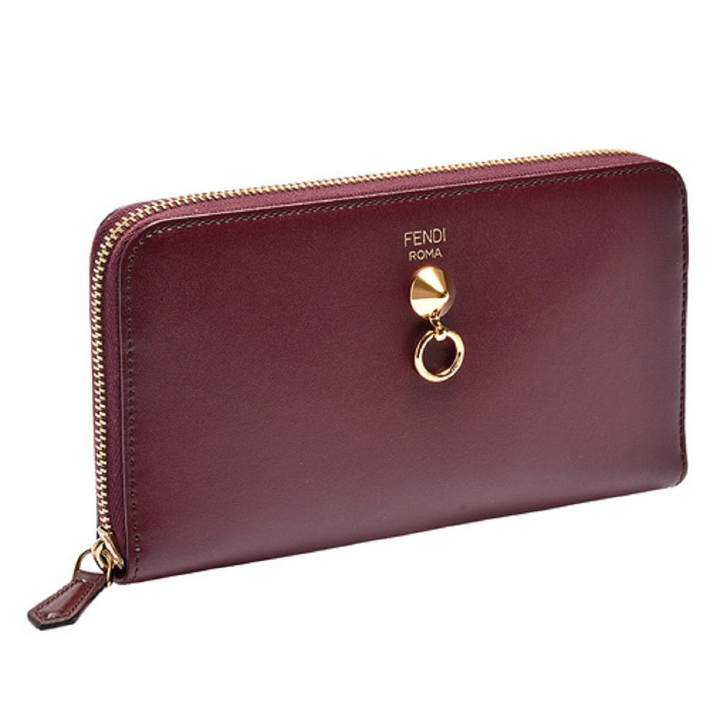 Fendi By The Way Burgundy Leather Full Zip Wallet Large 8M0299-F0KZU at_Queen_Bee_of_Beverly_Hills