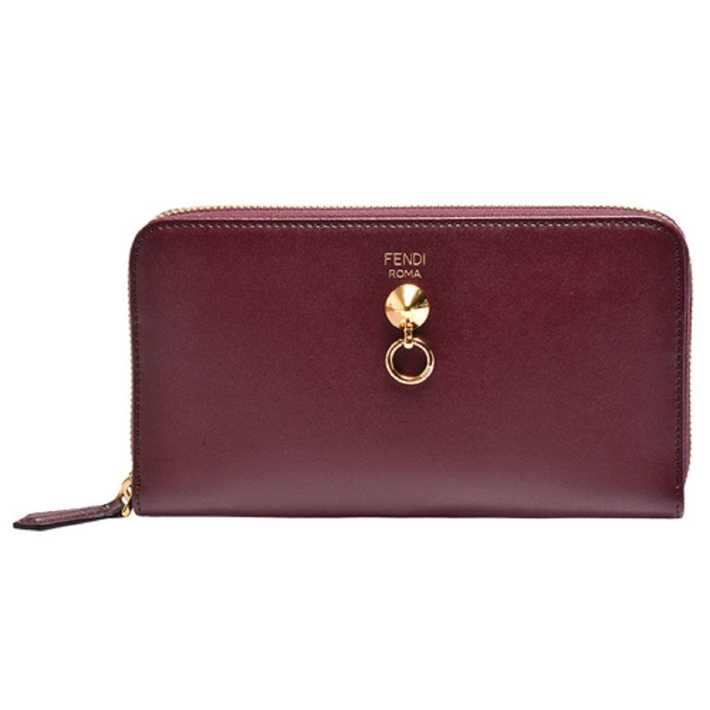Fendi By The Way Burgundy Leather Full Zip Wallet Large at_Queen_Bee_of_Beverly_Hills