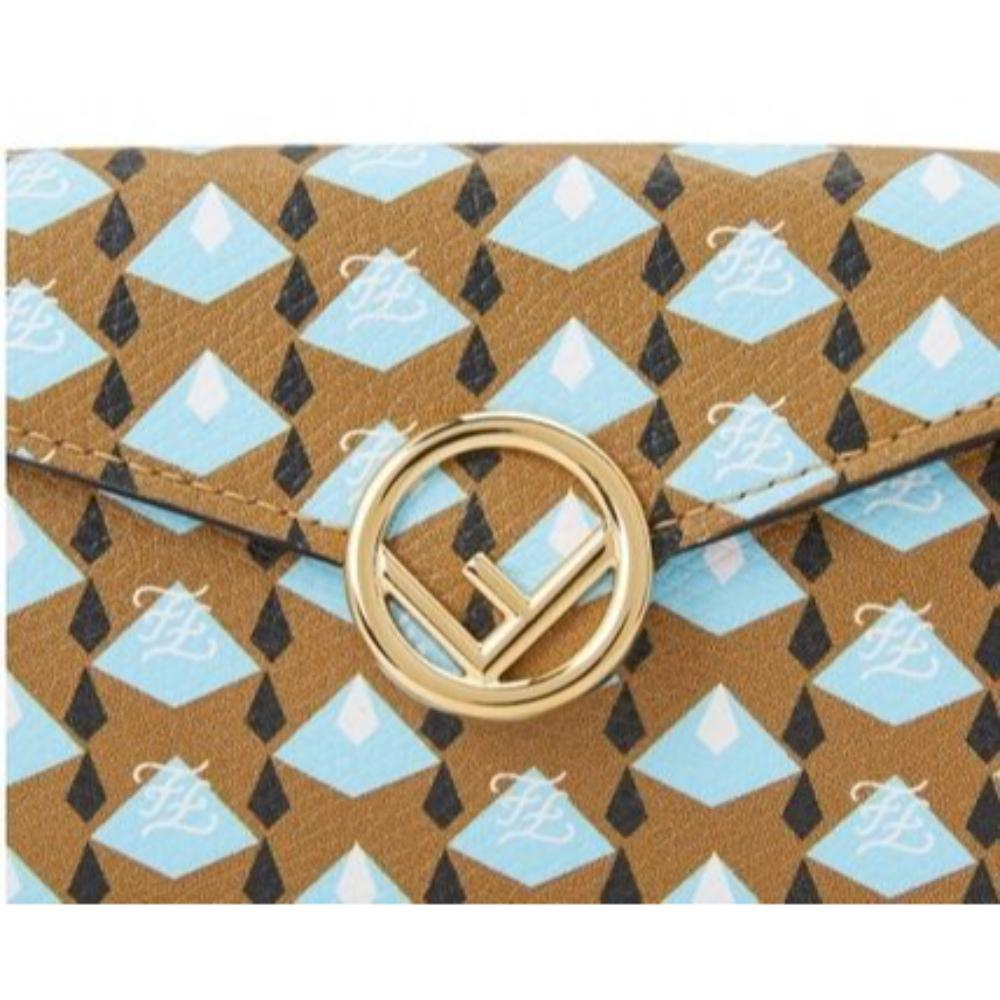 Fendi Calf Leather F Logo Blue Brown Micro Trifold Wallet 8M0395 at_Queen_Bee_of_Beverly_Hills