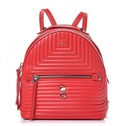 Fendi Calf Skin Red Unisex Leather Quilted Backpack Handbag Small 8BZ038 at_Queen_Bee_of_Beverly_Hills