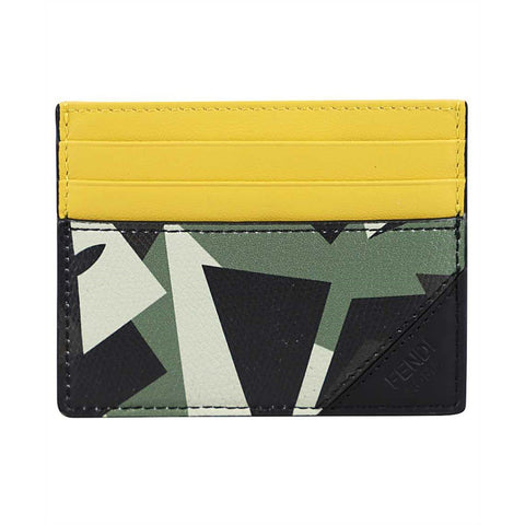 Fendi Camouflage Bugs Print Calf Leather Military Green Card Case 7M0164 at_Queen_Bee_of_Beverly_Hills