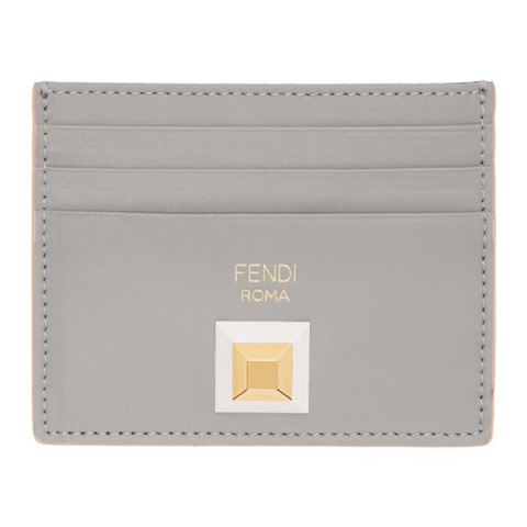 Fendi Card Case Rainbow Calf Leather Gray Burgundy Palladium Stud 8M0269 at_Queen_Bee_of_Beverly_Hills