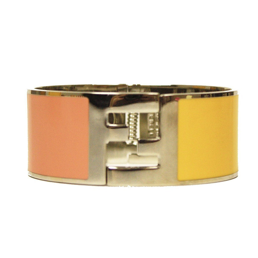 Fendi Classic Bangle Palladium Pink/Yellow Cuff  Luxury Bracelet V46L00 at_Queen_Bee_of_Beverly_Hills