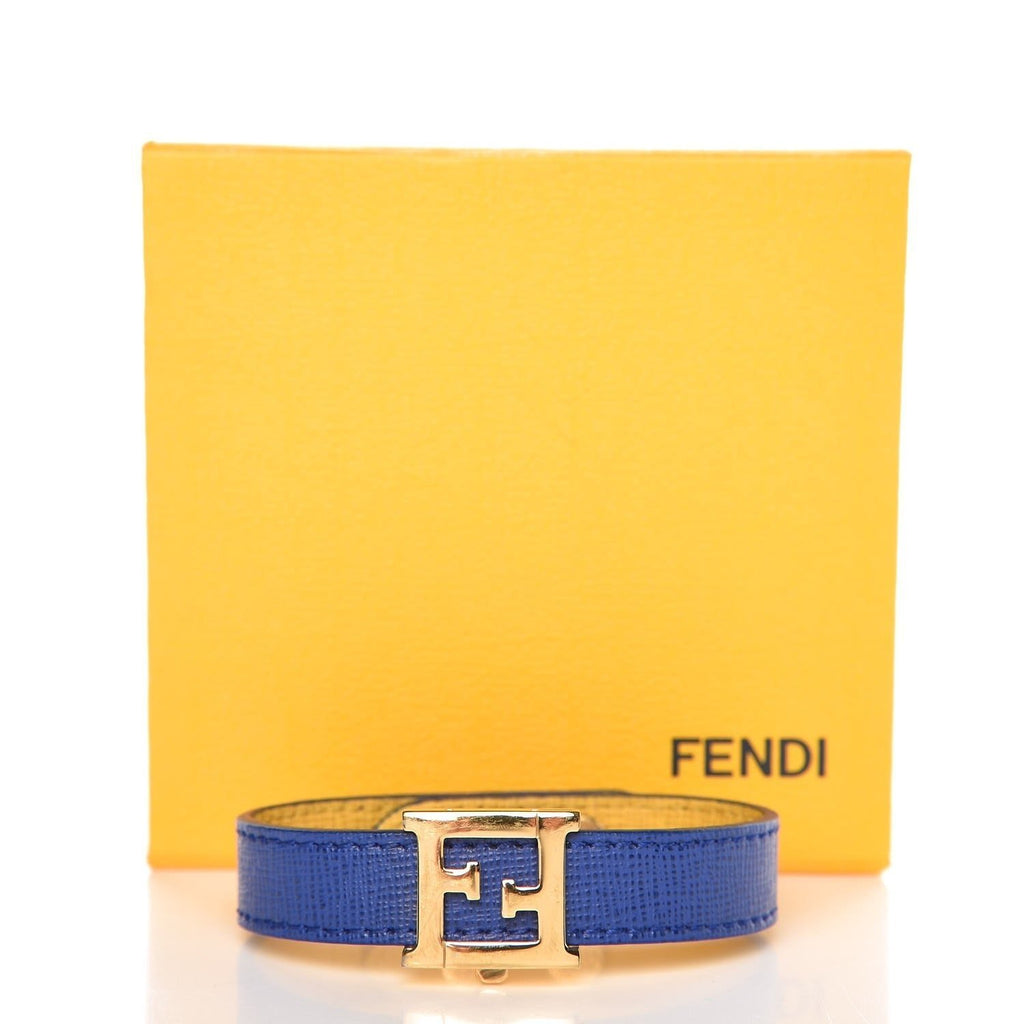 Fendi Crayons Reversible Yellow Neon Blue Calf Leather Bracelet Cuff at_Queen_Bee_of_Beverly_Hills