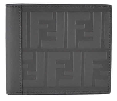 Fendi Dark Gray Leather Unisex Wallet w Embossed Fendi logo 7M0169 at_Queen_Bee_of_Beverly_Hills