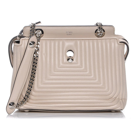 Fendi Dotcom Click Beige Caramel Quilted Lambskin Leather Chain Satchel 8BN299 at_Queen_Bee_of_Beverly_Hills