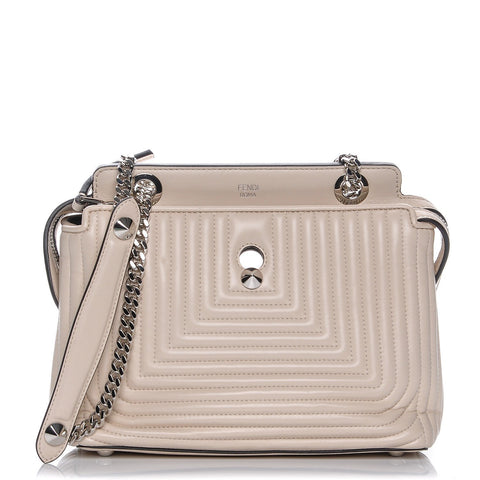 Fendi Dotcom Click Cream Small Quilted Lambskin Leather Chain Satchel Bag  8BN299 at_Queen_Bee_of_Beverly_Hills