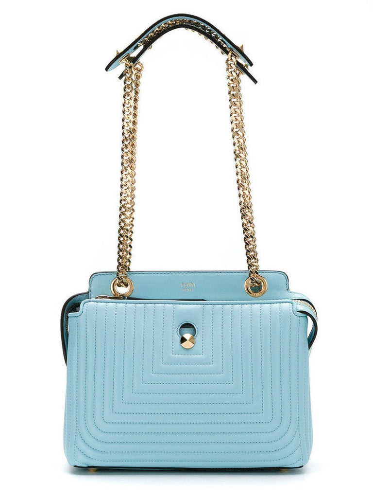 Fendi Dotcom Click Turquoise Small Quilted Lambskin Leather Chain Satchel 8BN299 at_Queen_Bee_of_Beverly_Hills