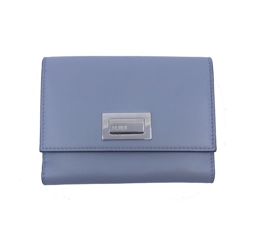 Fendi Dust Grey Currant Red Leather Leather Peekaboo Wallet 8M0359 at_Queen_Bee_of_Beverly_Hills