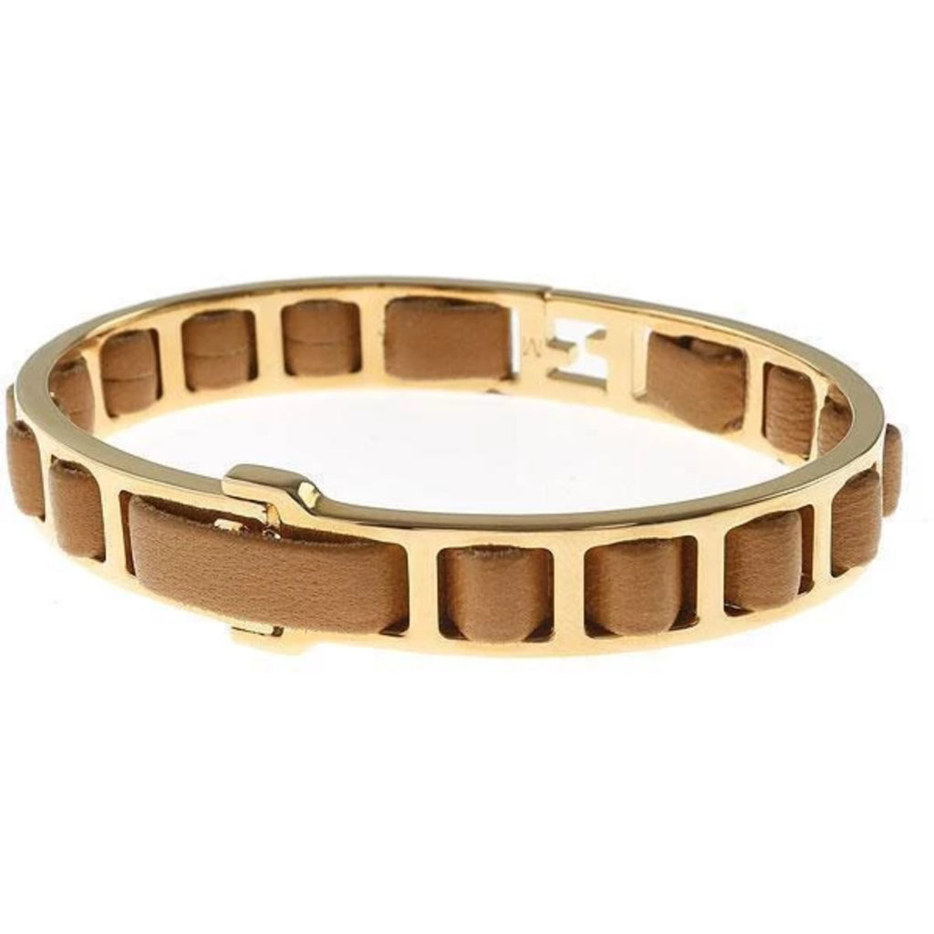 Fendi FF Fendista Logo Brown Leather Woven Bangle Bracelet Gold Hardware at_Queen_Bee_of_Beverly_Hills
