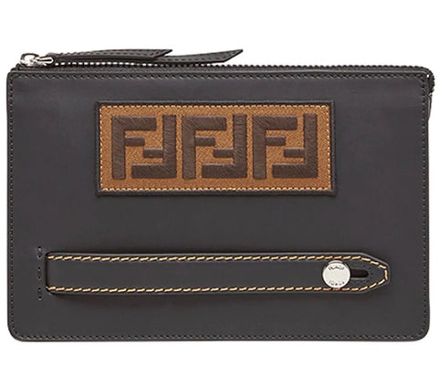 Fendi FF Logo Patch Pouch Clutch Calf Leather Black Palladium 7VA350 at_Queen_Bee_of_Beverly_Hills