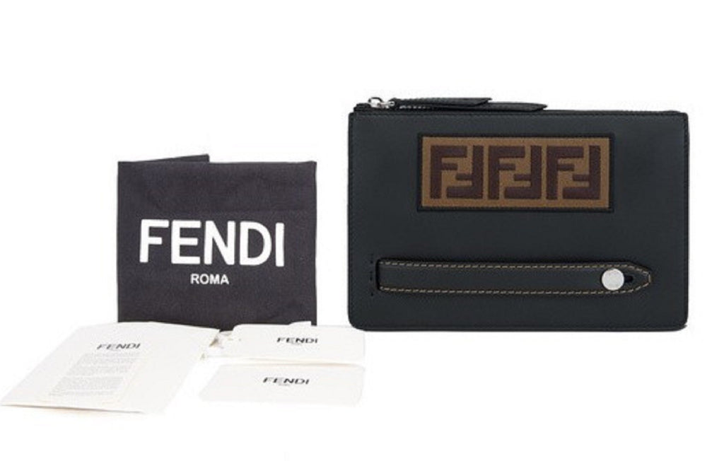 Fendi FF Zucca Logo Patch Pouch Clutch Calf Leather Black Palladium 7VA350 at_Queen_Bee_of_Beverly_Hills