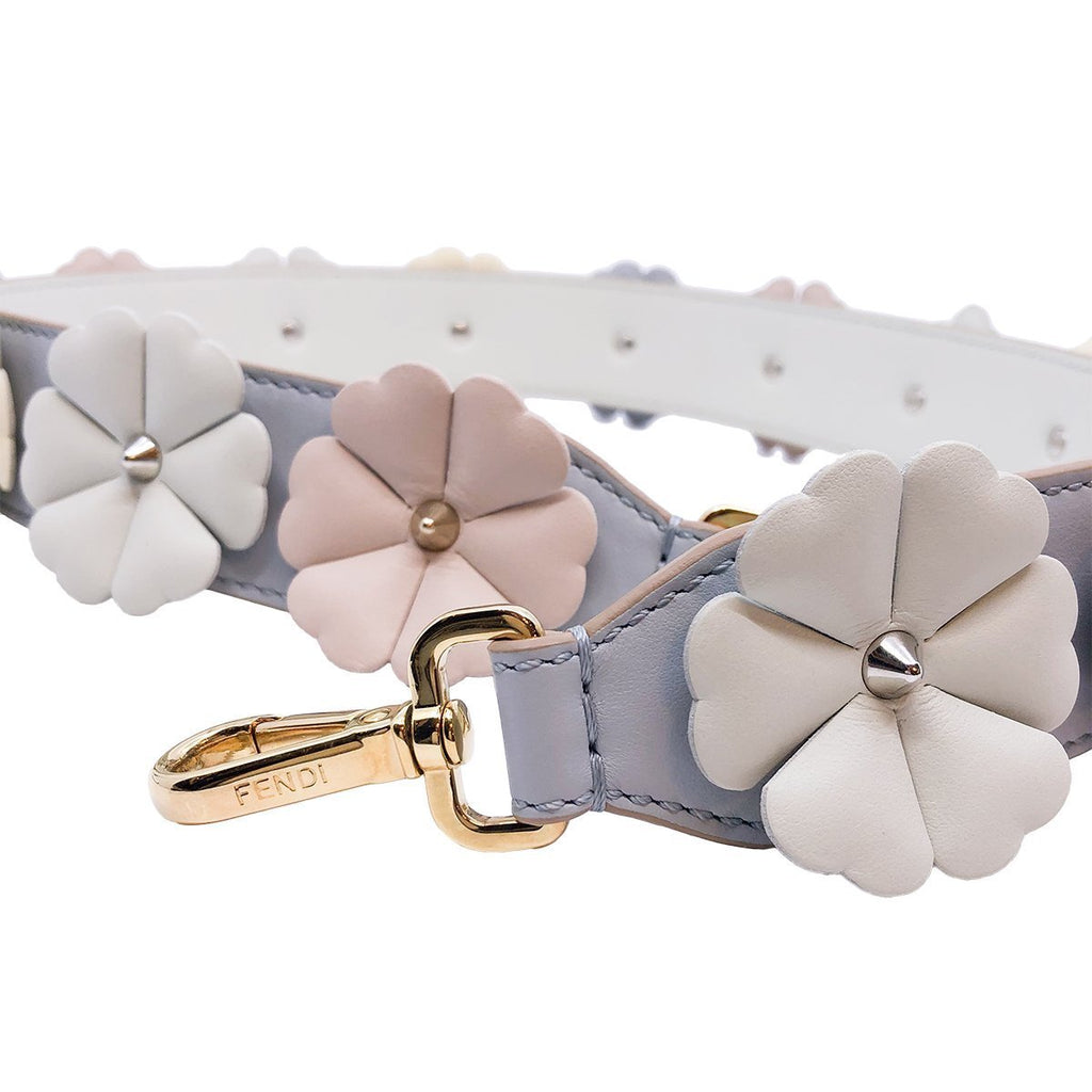 Fendi Flowers Dove Grey Opale Neutral Calf Leather Shoulder Strap 8AV077 at_Queen_Bee_of_Beverly_Hills