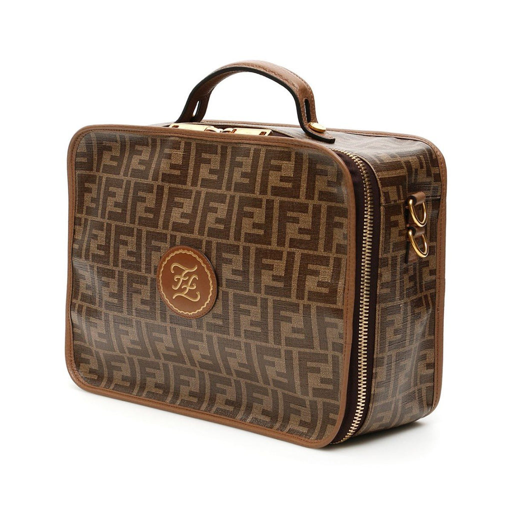 Fendi Glazed Fabric FF 1974 Karligraphy Brown Small Travel Bag 7VV137 at_Queen_Bee_of_Beverly_Hills