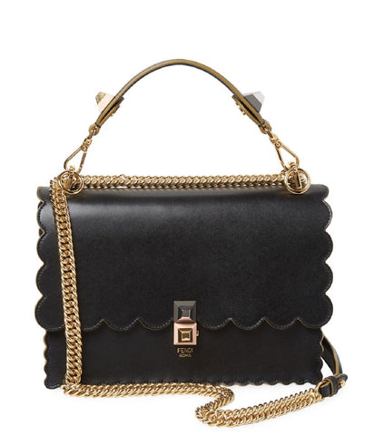 Fendi Kan I Black Calf Leather Silver Chain Studded Shoulder Bag 8BT283 at_Queen_Bee_of_Beverly_Hills