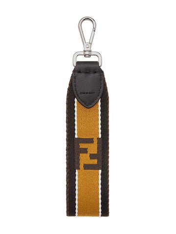 Fendi Lace Strap You Fabric Calf Leather Trim Key Fob Black Tobaco 7AR610 at_Queen_Bee_of_Beverly_Hills