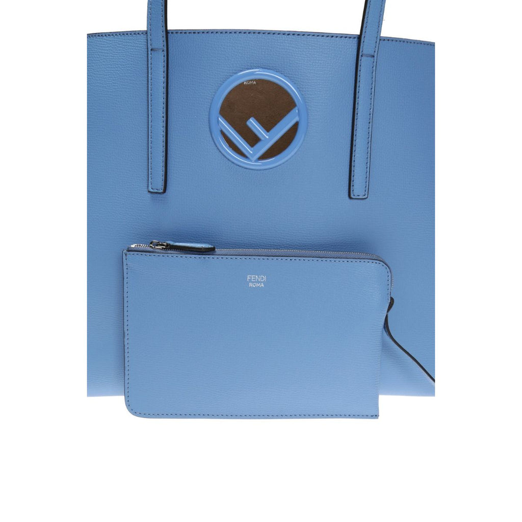 FENDI Leather Baby Blue Shopping Tote Cut Out Fendi Logo 8BH348 at_Queen_Bee_of_Beverly_Hills