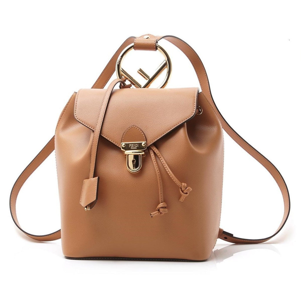 Fendi Locket F Tan Backpack Gold Hardware Calf Leather 8BZ043 at_Queen_Bee_of_Beverly_Hills