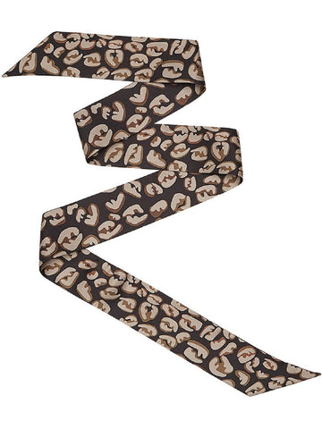 Fendi Logo Print Splash Brown/Black Women's Wrappy Scarf FXT011 at_Queen_Bee_of_Beverly_Hills